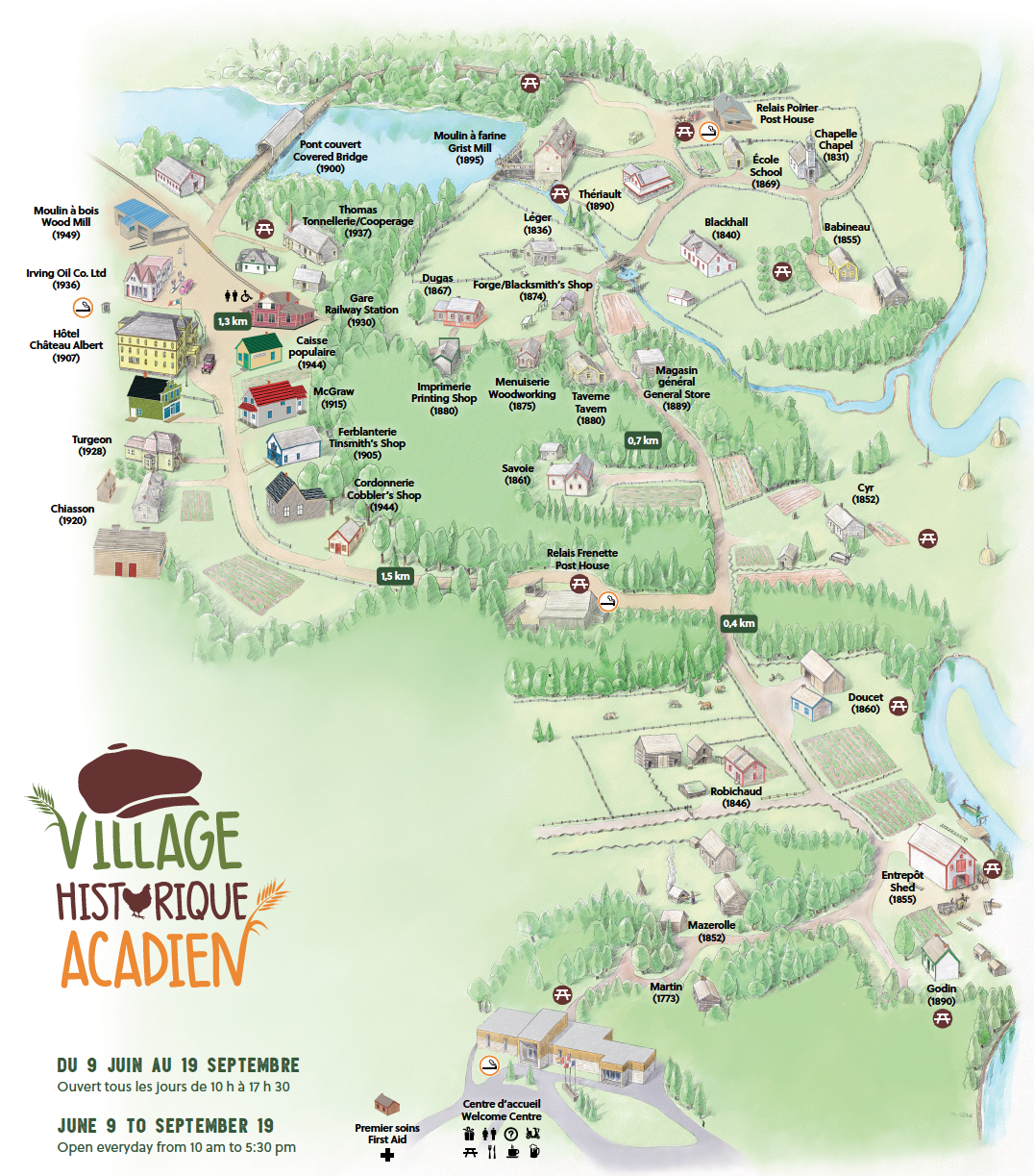 Village historique acadien Map