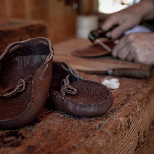 Moccasins crafted by the Village cobbler